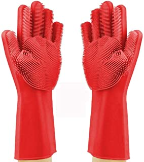 LETOOR Silicone Reusable Brush Heat Resistant Scrub Rubber Glove for Dish Cleaning Kitchen Household Washing, 14 IN, Red