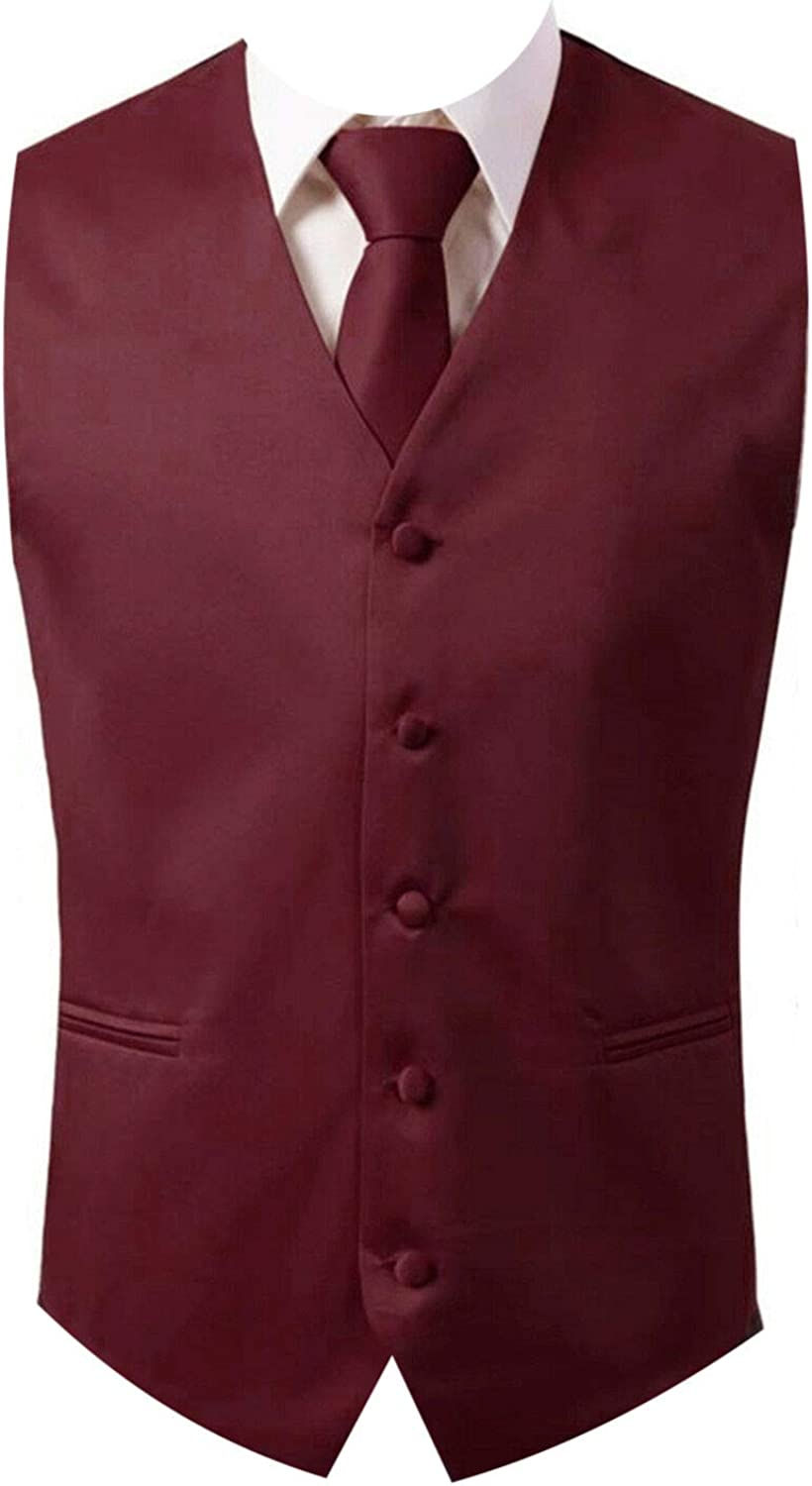 Brand Q 3pc Men's Dress Vest for Set Square Necktie Spring new work one after another Max 64% OFF Pocket Suit