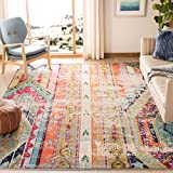 Safavieh Monaco Collection MNC222F Modern Bohemian Distressed Area Rug, 6'7' x 9'2', Multicolored