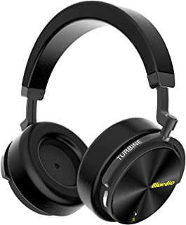 Bluedio T5S Active Noise Cancelling Bluetooth Headphones Over-Ear Stereo Smart Sensor Wireless Headsets 25 Hrs Playtime for Travel Work Computer Phone, Built-in Mic (Black )