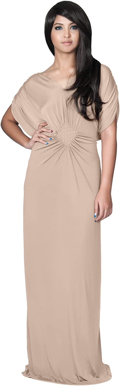 Koh Koh Womens VNeck Short Sleeve Evening Bridesmaids Semi Formal Maxi Dress