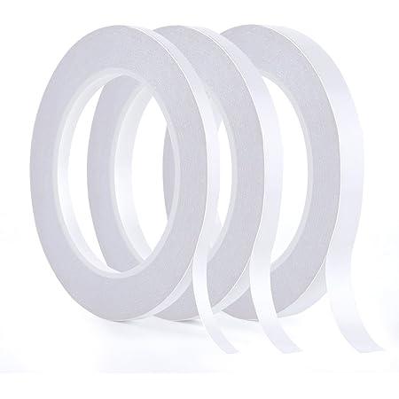 Kuuqa 3 rouleaux double face ruban ensemble solide bande collante pour bureau bricolage Artisanat, 30 mètres de long, large 6mm / 9mm / 12mm