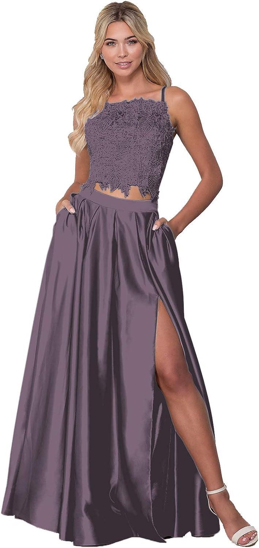Two セール Piece Lace Long Satin Slit Spaghetti 40%OFFの激安セール Straps Prom Dress Forma