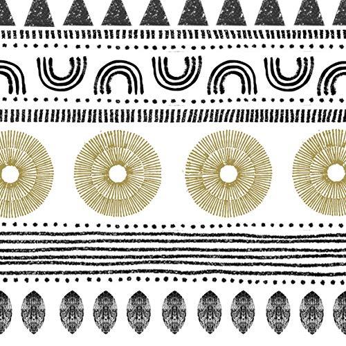 CasaJame Set di 40 (2 Confezioni da 20 Pezzi cad) Tovaglioli in Carta Monouso 3 Strati Veli 33x33cm Colore Bianco Nero Oro Motivo Fantasia Etnica