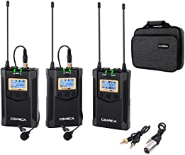 Wireless Microphone  Comica CVM-WM100 PLUS 16-Channel UHF Wireless Dual Lavalier Microphone System for Canon Nikon Sony Panasonic DSLR Camera XLR camcorder Smartphone  2TX 1RX