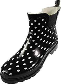black white polka dot rain boots