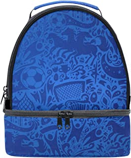 Mydaily Kids Lunch Box Soccer Football Doodle Reusable Insulated School Lunch Tote Bag