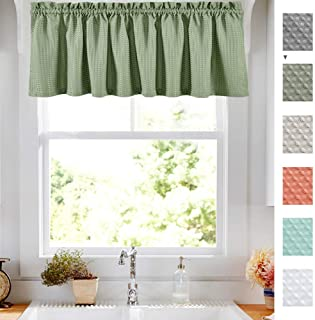 Olive Waffle Weave Cafe Sage Green Curtains Waterproof Kitchen Window Curtain Valance for Bathroom 1 Panel 60 Width 18 inch Length