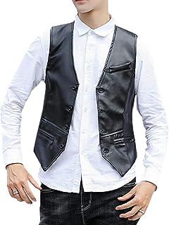 GRMO Men PU Faux Leather Moto Biker Slim Fit Blazer Vest Waistcoat