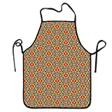 Not Applicable Geometrische Schürze Chef Blumenmuster warme Töne abstrakte arabische Kultur inspiriert ethische Stammesmotive Schürze Handwerker Mehrfarbig