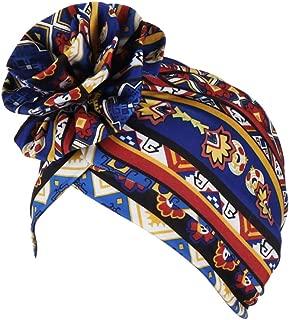 Cuekondy Women's Muslim Flower Cap Cotton Flower Elastic Turban Beanie Pre-Tied Bonnet Chemo Cap Hair Loss Hat