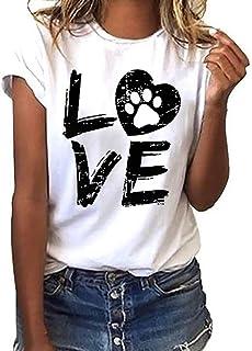 Homebaby T-Shirt Estate Donna Elegante Cotone - Ragazza Maglietta Maniche Corte Moda Loose Camicetta Camicia Vintage Felpe...