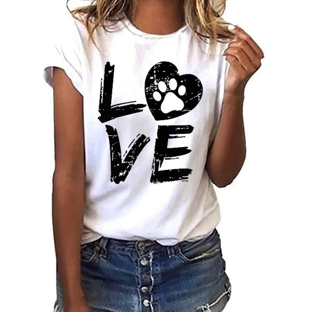 Vestidos de Fiesta Mujer Cortos Elegantes Vestido de la Camisa Floja de Las Mujeres de Moda Manga Corta Camiseta con Letras de Amor Top Casual con Cuello en O Camisa Vestido: Amazon.es: