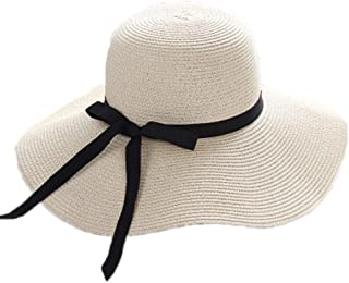 Summer Women Bow Sun Hat Wide Brim Straw Hats Outdoor Foldable Beach Panama Hats Church Hat Bone