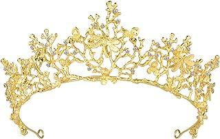 Frcolor Wedding Tiara Flower Bridal Princess Queen Crown Baroque Vintage Rhinestone Headband As Shown
