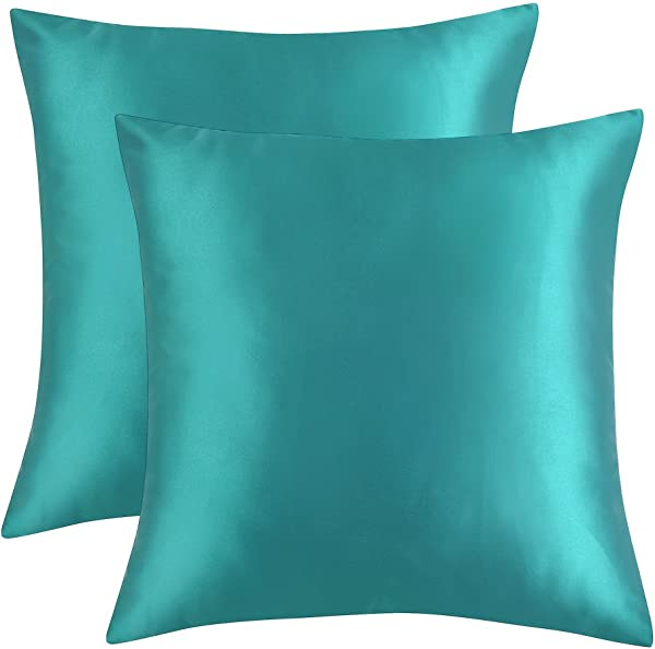 Artcest Set Of 2 Cozy Solid Mircofiber Bed Throw Pillow Case Decorative Couch Cushion Cover Soft Sofa Toss Pillow Cover With Zipper Hidden Turquoise 18 X18