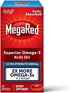1000mg Omega-3 Krill Oil Supplement, MegaRed Ultra Strength Softgels (30 Count in a Box), Has No Fishy Aftertaste and Has EPA & DHA Plus Antioxidant Astaxanthin