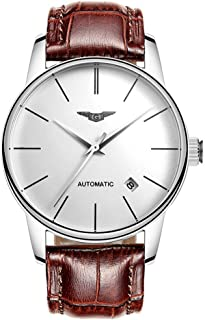 Guanqin Men Analog Business Automatic Self-Winding Mechanical Steel/Leather Wrist Watch Date (3 Silver White Brown)