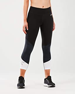 2XU Fitness Mid Rise Colour Block Womens 7/8 Compression Tights - Black