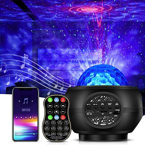 LED Sternenhimmel Projektor Lampe, Galaxy Projektor Nachtlicht Sternenprojektor mit Fernbedienung/Bluetooth Lautsprecher, Starry Stern/Wasserwellen-Welleneffekt für Kinder Erwachsene Zimmer Dekoration