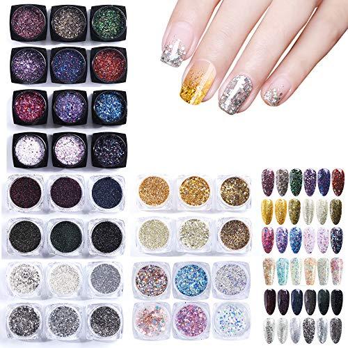 GOTONE 36 boîtes de 36 paillettes holographiques brillantes 3D multicolores pour ongles ou décoration artistique manucure (1 g/boîte, 36 couleurs)