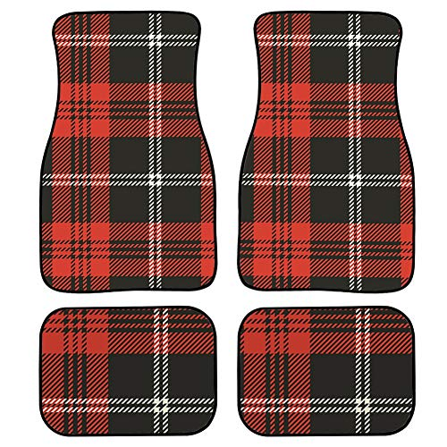 LMFshop 4 Pieces Floor Car Mats for Women Black and Red Plaid with White Stripe Carpet Car Mats for Women Front & Rear Non-Slip Carpet with Rubber Backing for Car SUV Van & Truck