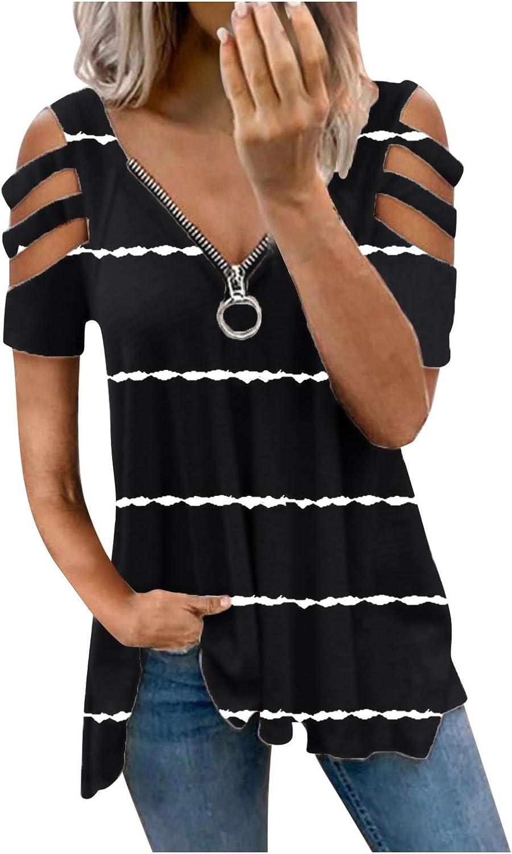ONHUON Cute Summer Tops for Women Sexy,Womens Tie Dye Short Sleeve Gradient Shirt Loose Trendy Tee Tops Blouse T-Shirt