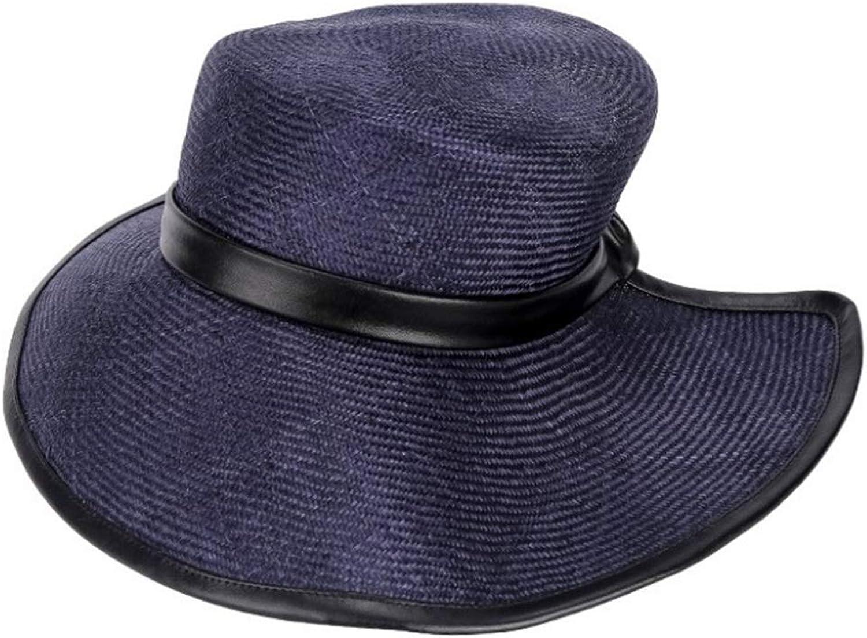 Sun Visor Sunscreen Beach Hat Women's Summer Straw Hat (color   Dark blueee, Size   One Size)
