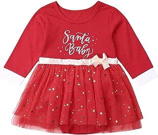 Christmas Newborn Infant Baby Girls Red Tulle Skirt Romper Jumpsuit Santa Baby Long Sleeve Princess Stars Printed Dress