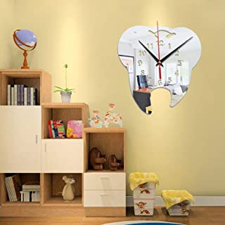XUEXUE 3D Creative Tooth-Shaped Wall Clock Dental Decoration Ornament Wall Clock Creative Mirror Wall Clock (Color : A)