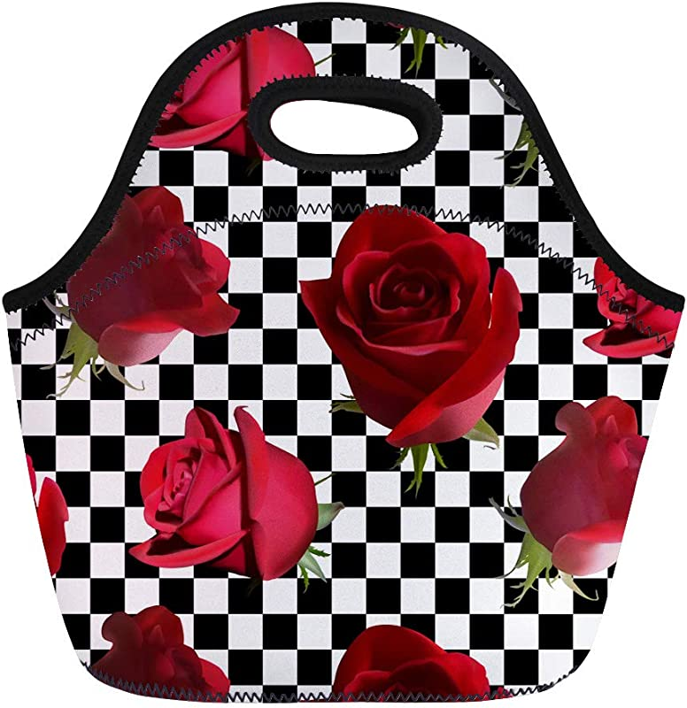 Semtomn Neoprene Lunch Tote Bag Pattern Red Roses Green Leaves Against Black And White Reusable Cooler Bags Insulated Thermal Picnic Handbag For Travel School Outdoors Work