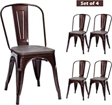 COSTWAY Tolix Style Dining Chairs Industrial Metal Stackable Cafe Side Chair w/Wood Seat Set of 4 (Copper)