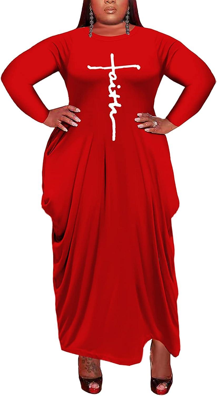 Fayee Women's Plus Size Long Sleeve Dress Casual Loose Maxi Dresses