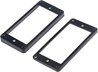 Musiclily Guitar Neck and Bridge Humbucker Pickup Frame Mounting Ring Set for Gibson Les Paul, Black(Pack of 2)