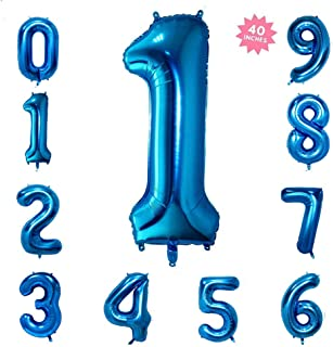 40 Inch Blue Jumbo Digital Number Balloons Huge Giant Balloons Foil Mylar Balloons for Birthday Party,Wedding, Bridal Shower Engagement Photo Shoot, Anniversary (Number 1 Blue Balloon)