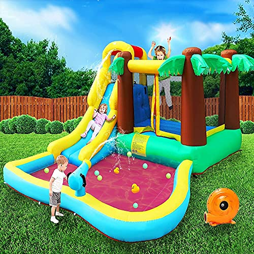 MEIOUKA Inflatable Water Park Bounce Houses with 450W Blower Water Slides Ball Pool Park Bouncy...
