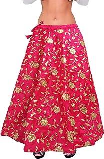 7557de9a3 MAMTA Women's Cotton Silk Umbrella Cut Gota Patti Lehenga Skirt (charu  enterprises, Pink,