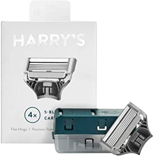 Harry's Razor Blades (1 Pack of 4) in Durable Hinged Water Friendly Travel Case