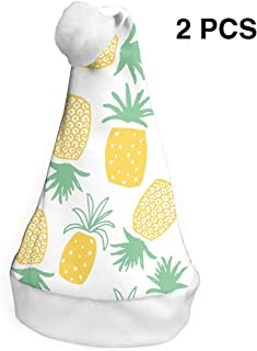 Santa Claus Hat Pineapple Fruit Merry Christmas Hats Adults Children Costume Xmas Decor Party Supplies (2-Pack)