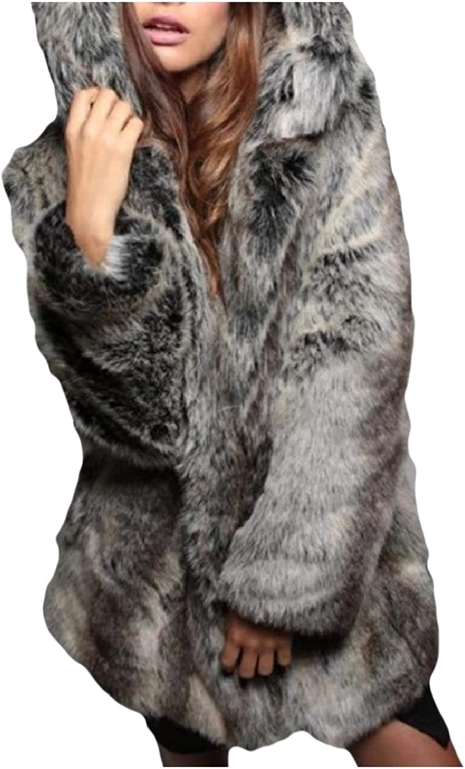 Vska Women Oversized Faux Fur Shawl Wraps Cloak Coat Sweater Cape