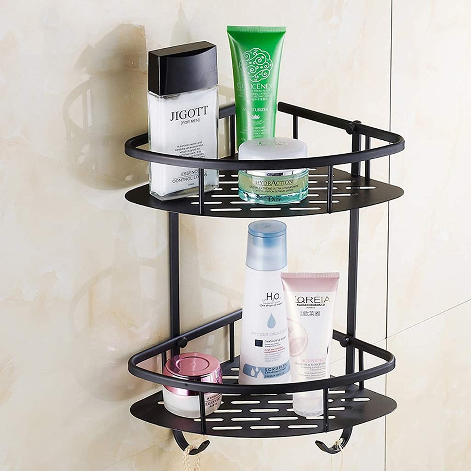 Rack- European Bathroom Shelf with Hook, Black Double Corner Stand, Triangle Basket Rack, Kitchen Storage Rack
