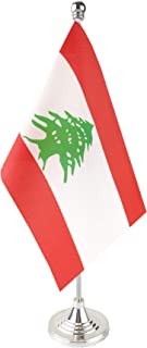 GentleGirl.USA Lebanon Table Flag, Stick Small Mini Lebanese Flag Office Table Flag on Stand with Stand Base, International Festival Decoration,Lebanese Theme Party Decoration,Home Desk Decoration