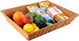 Wicker Storage Basket Large Shallow Basket Used For Bread Basket Commodity Display Basket and Storage &Decoration Of Fruits, Vegetables Snacks Wicker bins(Reinforced plus style)