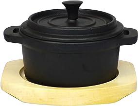 فرن فريلنج من الحديد الزهر صغير من كوكوكوخ هولندي مع طبقة داخلية من المينا والخشب ، كوب 1.9 ، أسود