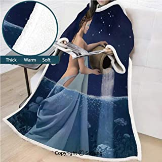 Astrology Premium Sherpa Deluxe Fleece Blanket with Sleeves,Aquarius Lady with Pail in the Sea Water Signs Saturn Mystry at Night Stars Decorative Throws Wrap Robe Blanket for Adult Women,Men,Blue Dar