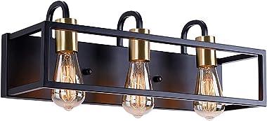 Bathroom Light Fixtures,3-Light Vanity Light,Black Rustic Industrial Style,Antique Bronze Finish,Vintage Bathroom Lighting Fi