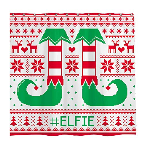 Allenjoy 72x72 inch Winter Shower Curtain Set with 12 Hooks Red Green Elf Legs Shoes Merry Christmas Bathroom Curtain Durable Waterproof Fabric Bathtub Sets Home Decor