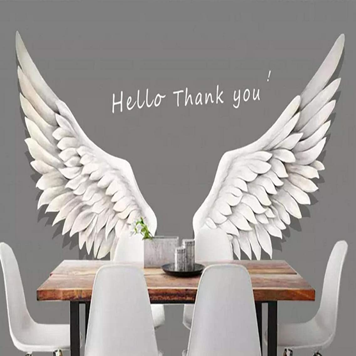 手つかずの突っ込む秘密の3D写真の壁紙壁画、白い羽の羽の居間の喫茶店のレストランの写真撮影の背景の壁の装飾の絵画280 cm(W)x 180 cm(H)