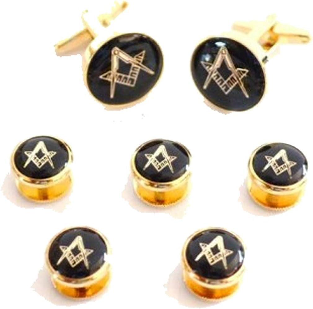 Masonic Cufflinks with Masonic 5 Dress Studs~Gift Set Matching Cufflinks & Dress Studs