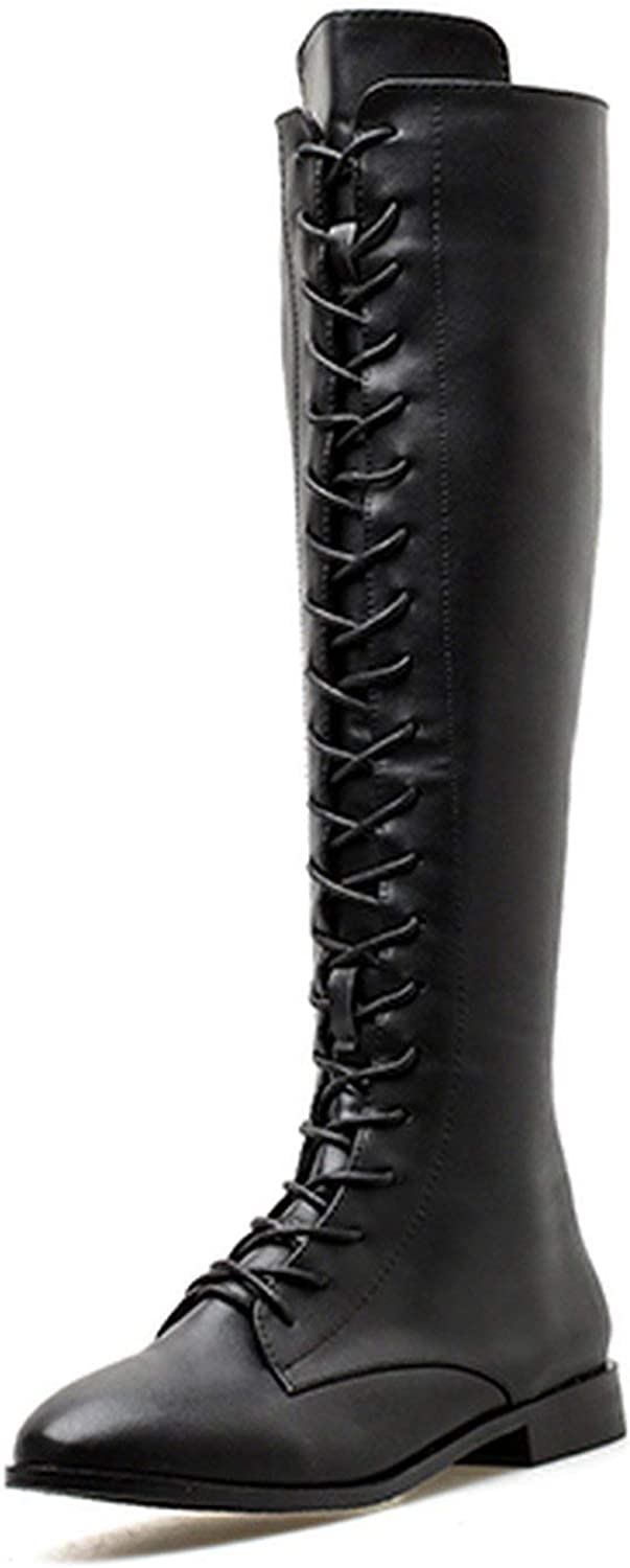 Summer-lavender Winter Knee High Boots Square Heels Women Leather Booties shoes Lacing Autumn shoes Platform Heels